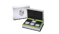 Komplet oficjalnych srebrnych monet olimpijskich z Brazylii - pudełko