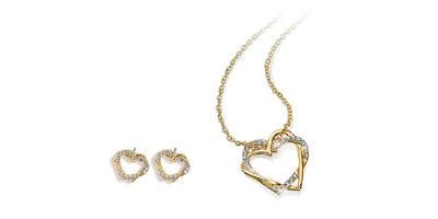 Najszyjnik i kolczyki w kształcie serca z kryształkami Swarovskiego