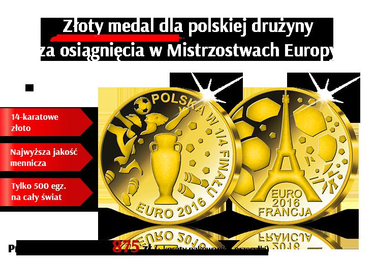 """Złoty medal """"Polska w 1/4 finału EURO 2016"""""""