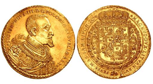 100 dukatów Zygmunta III Wazy złota moneta na aukcji - Skarbnica Narodowa
