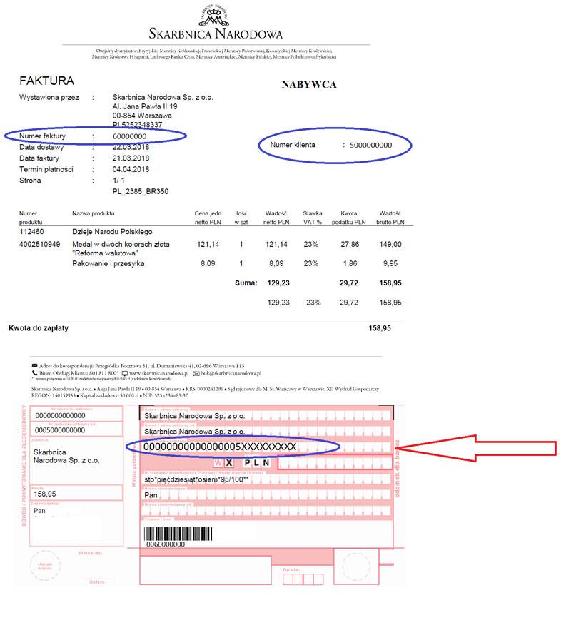 Faktura z numerem konta bankowego