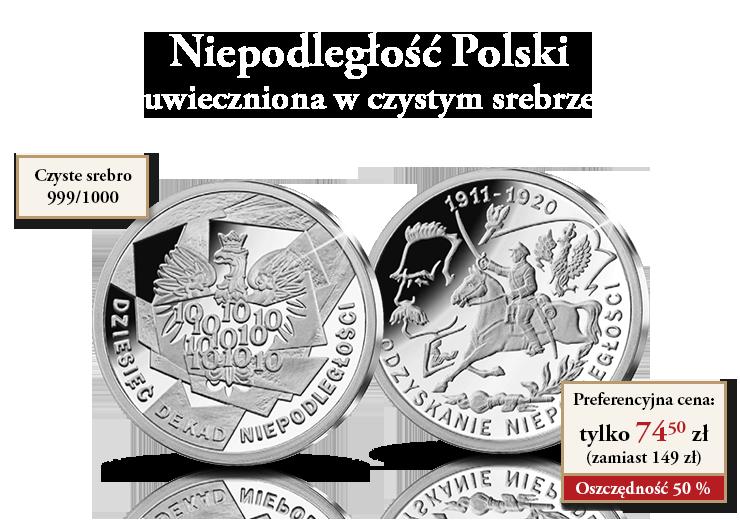 Niepodległość Polski uwieczniona w czystym srebrze