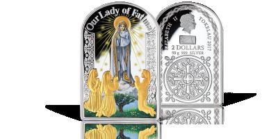 100.Rocznica Objawień Fatimskich Matka Boża Fatimska na monecie z czystego srebra i złota