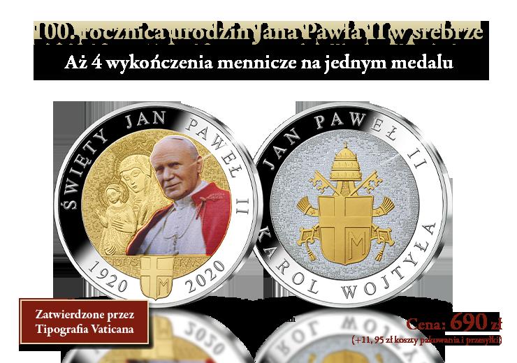 100. rocznica urodzin Jana Pawła II w srebrze. Aż 4 wykończenia mennicze na jednym medalu!