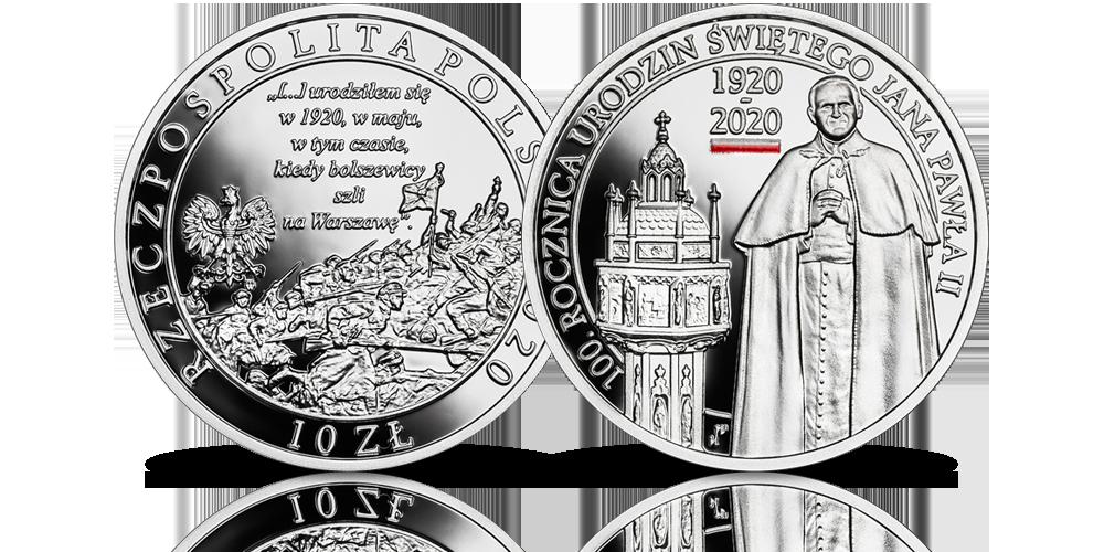 100. rocznica urodzin Jana Pawła II. Srebrna moneta z drukiem UV.