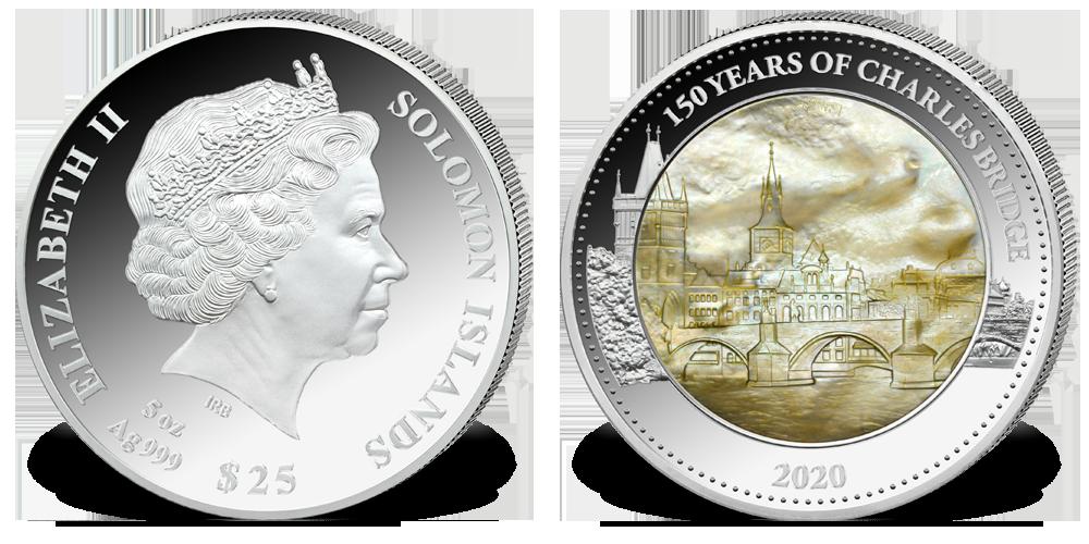 Most Karola - srebrna moneta z masą pełową.
