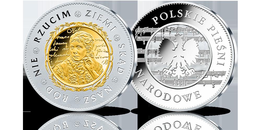 Zestaw Srebrnych Medali Zdobionych Złotem Polskie Pieśni