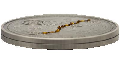 5-uncjowa srebrna moneta z prawdziwym bursztynem