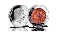 Lądowanie na Księżycu upamiętnione na srebrnej monecie z masą perłową.
