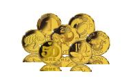 Siedem monet szczęścia. Żółw, serce, motyl, świnia, słoń, niemiecki fenig, irlandzki pens. Uszlachetnienie czystym złotem 24 karaty