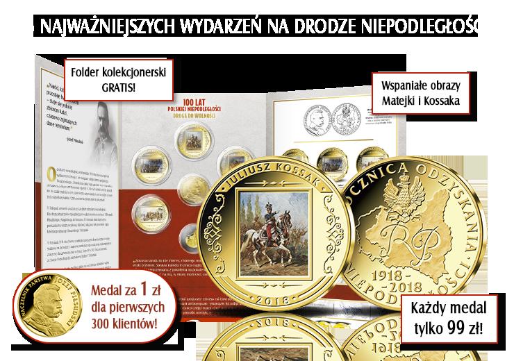 Polskie drogi do wolności na medalach platerowanych czystym złotem