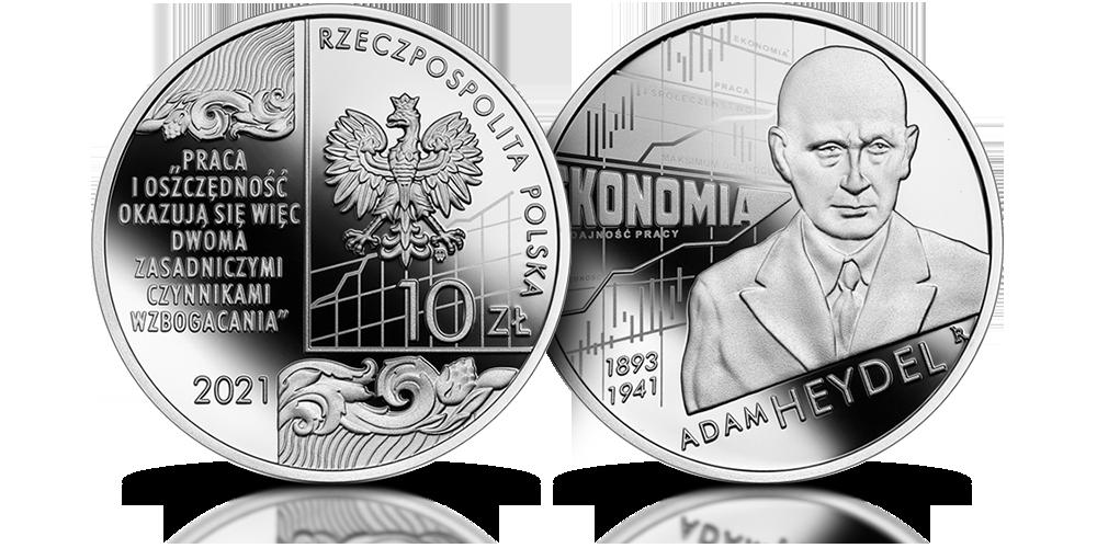 Adam Heydel na srebrnej monecie NBP.