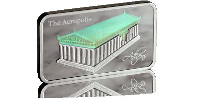 Akropol na oficjalnej srebrnej monecie z hologramem