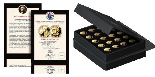 Amerykańskie dolary prezydenckie platerowane czystym złotem Certyfikat Autentyczności Elegancka szkatuła kolekcjonerska