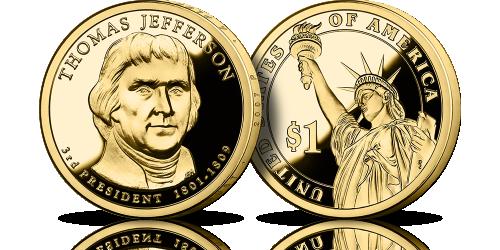 Amerykańskie dolary prezydenckie platerowane czystym złotem Thomas Jefferson Statua Wolności 1 dolar