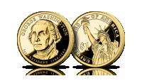 Amerykańskie dolary prezydenckie platerowane czystym złotem George Washington Jerzy Waszyngton Statua Wolności 1 dolar