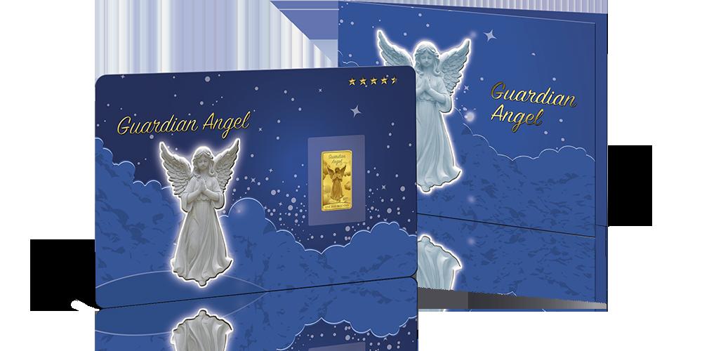 Anioł Stróż na złotej monecie sztabce w eleganckim niebieskim blistrze