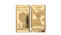 Złota moneta sztabka z wizerunkiem anioła stróża pośród chmur. Najwyższa próba złota 9999. Rok emisji 2018. Waga 1/2 g. Wyspy Salomona. Wizerunek królowej Elżbiety II z profilu. 10 dolarów.