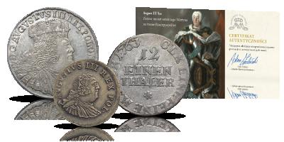 August III 3 oryginalne monety ostatniego Wettyna na tronie polskim