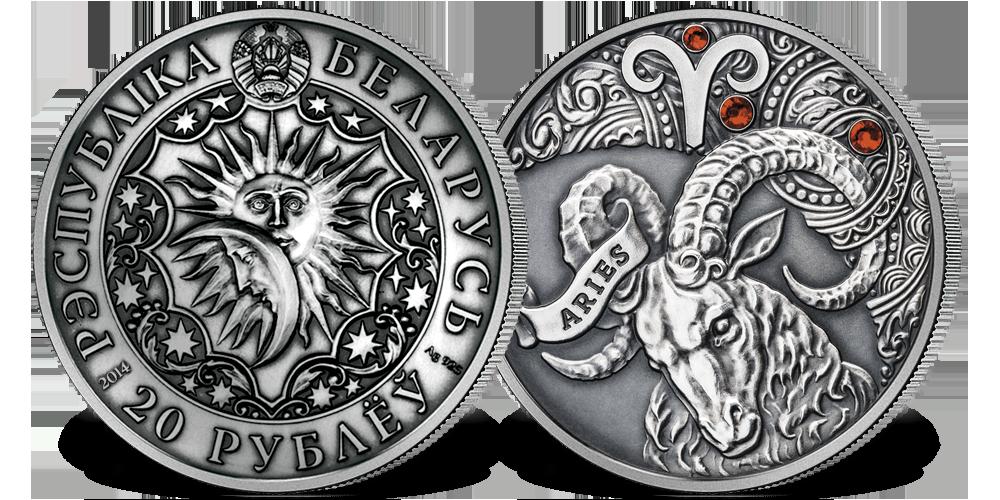 Srebrna moneta z kryształkami Swarovskiego - Baran
