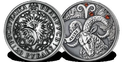 Baran - znak zodiaku na srebrnej monecie ozdobionej kryształkami Swarovskiego