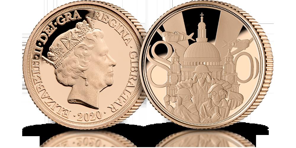 Złoty suweren wybity dla upamiętnienia 80. rocznicy bitwy o Wielką Brytanię.
