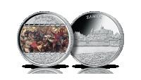 Bitwa pod Grunwaldem na uszlachetnionym srebrem medalu.