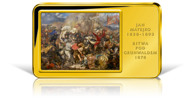 Bitwa pod Grunwaldem - sztabka platerowana 24-karatowym złotem