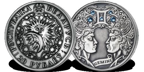 Srebrna moneta z kryształkami Swarovskiego - Bliźnięta