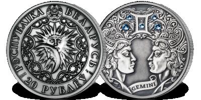 Bliźnięta - znak zodiaku na srebrnej monecie ozdobionej kryształkami Swarovskiego