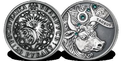 Byk - znak zodiaku na srebrnej monecie ozdobionej kryształkami Swarovskiego