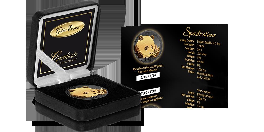 Czarne pudełko i limitowany certyfikat Golden Enigma Chińska Panda 2018