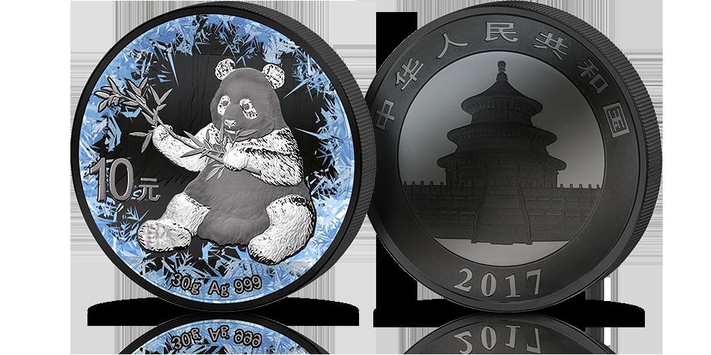 Chińska srebrna moneta przedstawiająca Pandę. Uszlachetniona czarnym rutenem i platyną. Ozdobiona techniką druku kryształowego. Edycja Deep Frozen. Rok emisji 2017