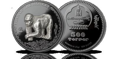 Chiński Rok Małpy na oficjalnej srebrnej monecie z Mongolii