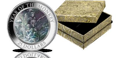 Chiński Rok Małpy na srebrnej monecie z masą perłową