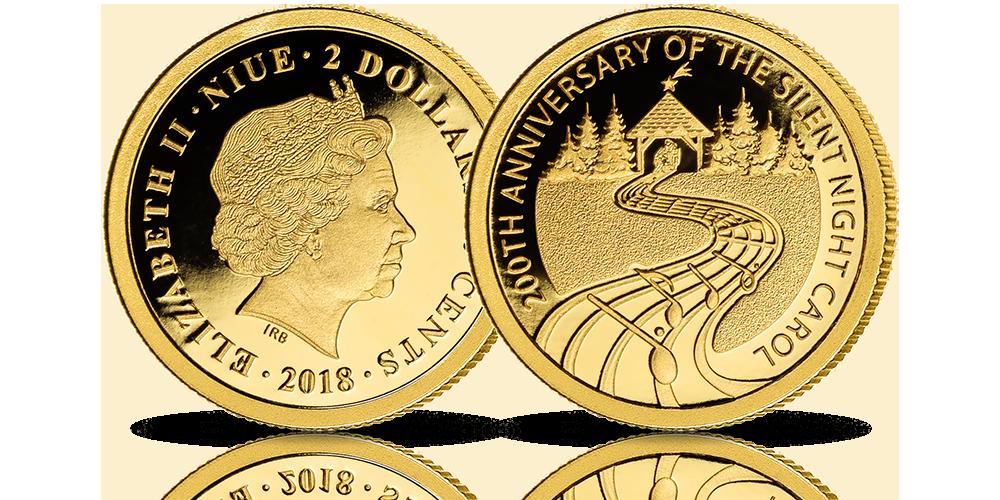 Kolęda Cicha Noc na oficjalnej złotej monecie.