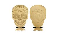 Złota moneta w kształcie czaszki.