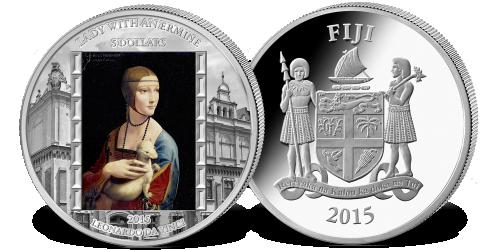 Dama z gronostajem na monecie wybitej z 5 uncji czystego srebra