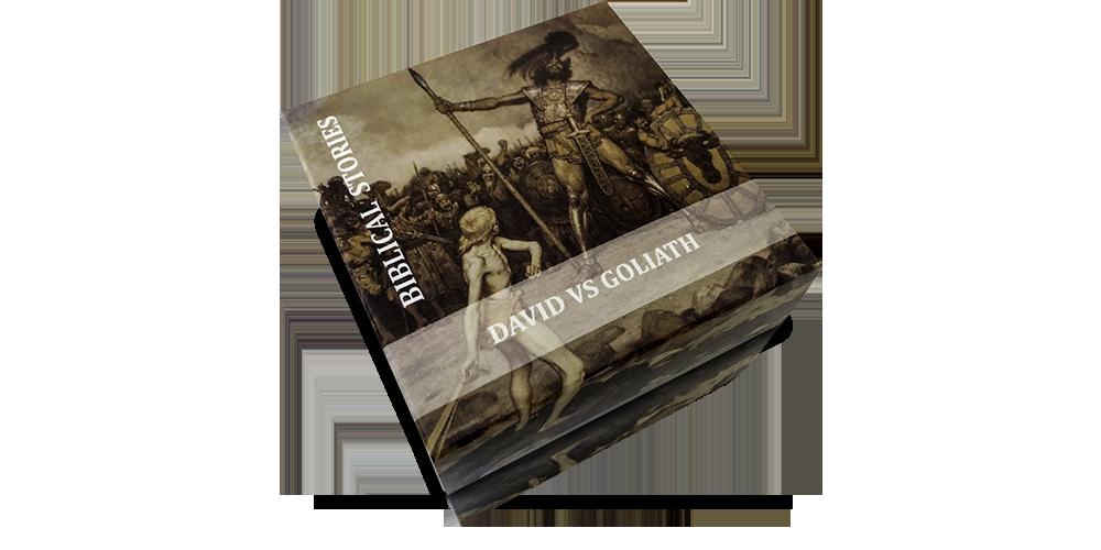 Pudełko z rysunkiem Dawida walczącego z Goliatem do srebrnej monety. Biblical Storie. Opowieści Biblijne