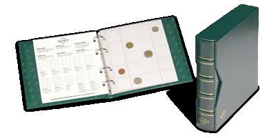 Ekskluzywy zielony album na monety z oprawą ze skóry ekologicznej.