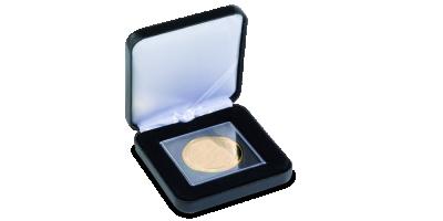 Eleganckie czarne pudełko kolekcjonerskie na jedną monetę wykończone skórą