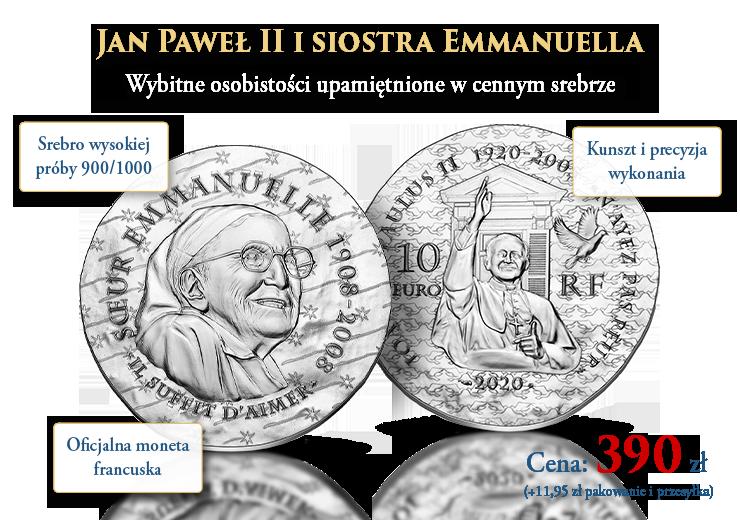 Siostra Emmanuella i papież Jan Paweł II – wybitne osobistości upamiętnione w cennym srebrze
