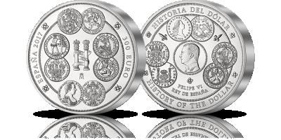 Dzieje dolara na pierwszej w historii hiszpańskiej srebrnej monecie o wadze aż 1 kg!