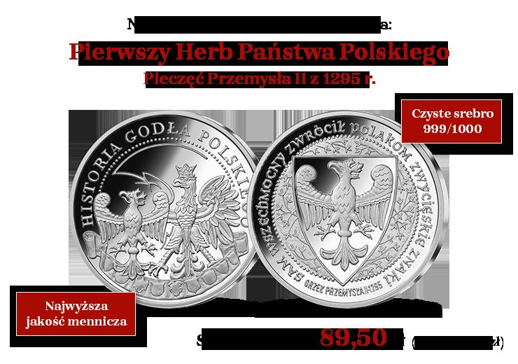 Pierwszy Herb Państwa Polskiego w czystym srebrze 999/1000