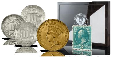 Historyczne srebrne trzycentówki wraz z XIXwiecznym znaczkiem i repliką unikatowej złotej trzydolarówki,,