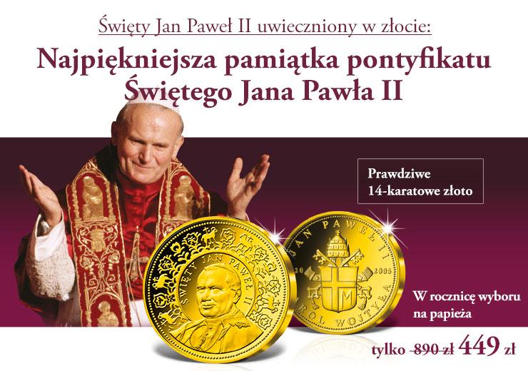 Święty Jan Pawł II uwieczniony w złocie