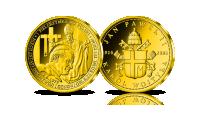 Złoty numizmat upamiętniający I Pielgrzymke Jana Pawła II do Polski