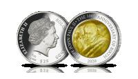 100. rocznica urodzin Papieża Jana Pawła II na srebrnej monecie z masą perłową.
