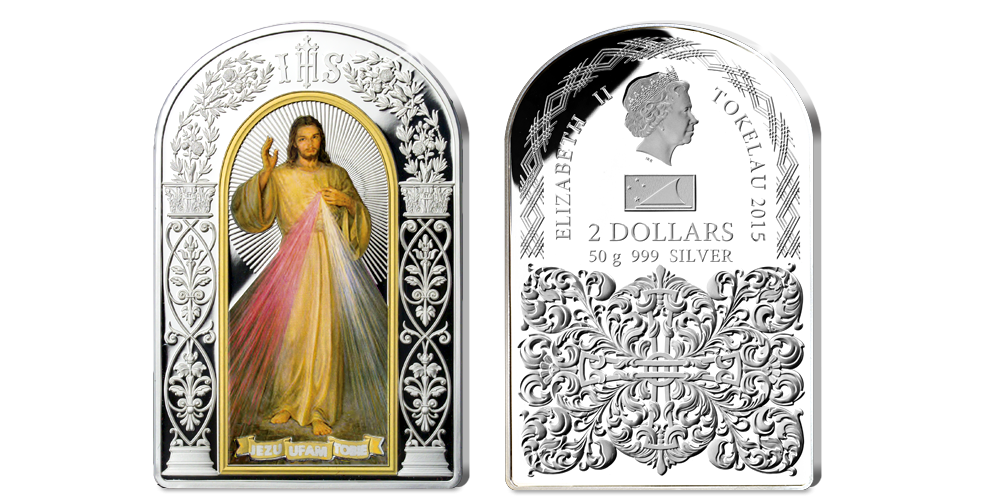 Cudowny obraz Jezu Ufam Tobie na monecie z czystego srebra