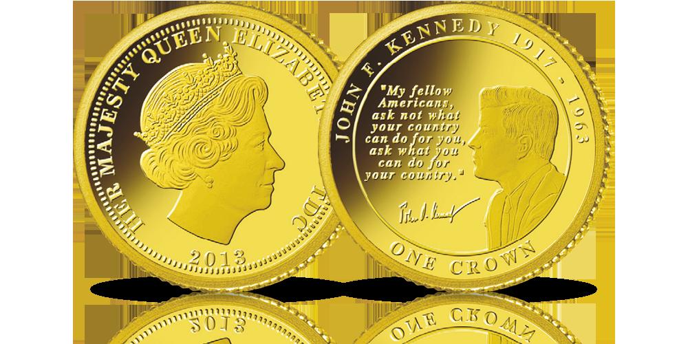 john f kennedy 1917 1963 na złotej monecie słynny cytat z przemówienia